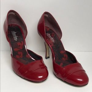 Charles David Red Patent D'Orsay Pumps Size 7
